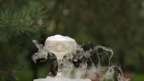 玻璃香槟抽烟 香槟构成的玻璃水平地射击了 滚滚向前在香槟槽的烟 承办酒席服务 婚姻的幻灯片 免版税库存照片