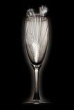 玻璃香槟的烟花 免版税库存图片