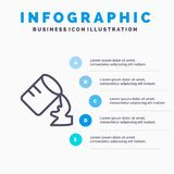 玻璃,水,潮湿线象有5步介绍infographics背景 库存例证