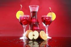 玻璃水瓶果汁喷趣酒桑格里酒二 免版税库存照片