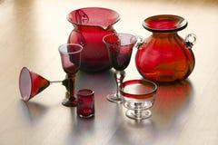 玻璃handicarafted墨西哥redd花瓶 库存图片