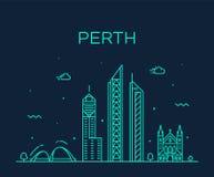 珀斯市地平线线性澳大利亚西部的传染媒介 皇族释放例证