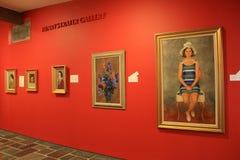 珊瑚上色了有被构筑的绘画的,美国艺术Ogunquit博物馆,缅因墙壁, 2016年 免版税库存照片