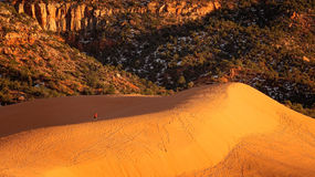 珊瑚桃红色沙丘国家公园的远足者在犹他 库存图片