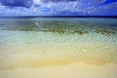 珊瑚海海滩马尔代夫 免版税库存照片