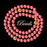 珊瑚珍珠项链 库存例证