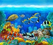 珊瑚礁-孩子的例证 免版税图库摄影
