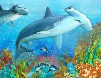 珊瑚礁-孩子的例证 图库摄影