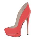珊瑚红色高跟鞋 库存图片
