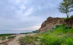 珊瑚,壳,在亚速号海的背景的石风景 图库摄影