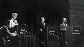 珍妮伯恩,理查Daley小 和哈罗德华盛顿 免版税图库摄影