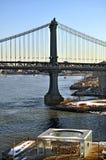 珍妮` s转盘和曼哈顿桥梁 库存照片
