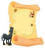 珍宝地图和一匹灰色马 向量例证