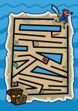 珍宝地图海盗迷宫比赛 库存照片