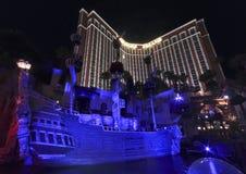 珍宝海岛旅馆和娱乐场的视图 图库摄影