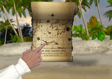 珍宝狩猎地图例证 库存照片