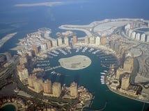 珍珠卡塔尔的鸟瞰图 免版税库存照片