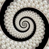 珍珠和金刚石珠宝提取螺旋背景样式分数维 成珠状背景,反复样式 抽象珍珠backg 库存照片