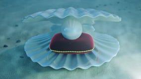 珍珠母水中 海与珍珠里面和红色天鹅绒枕头的壳水中 牡蛎和珍珠在 免版税库存图片