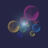 珍珠泡影的颜色在深蓝背景的 免版税库存图片