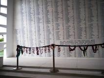 珍珠港的美国海军亚利桑那号战列舰纪念馆在奥阿胡岛,夏威夷 免版税图库摄影