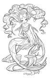 珍珠美人鱼的例证 库存照片
