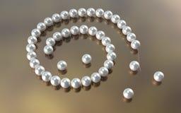 珍珠项链裁减绳子 3d说明 免版税库存图片