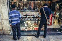 珠宝商商店在德黑兰 免版税库存图片