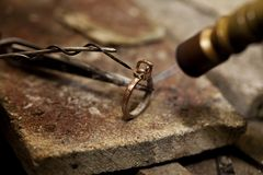 珠宝商焊剂圆环 库存照片