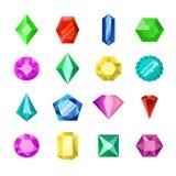 珠宝或金刚石精采传染媒介集合 动画片平的宝石珠宝 宝石和水晶,珍贵的玻璃元素 免版税图库摄影