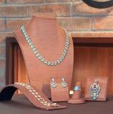 珠宝集合绿松石 免版税库存图片