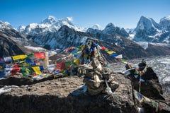 珠峰和洛子峰,喜马拉雅山,尼泊尔的西部边 库存照片