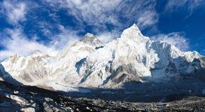 珠穆朗玛峰全景与美丽的天空和Khumbu冰川的 免版税图库摄影