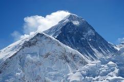 珠穆朗玛峰或Sagarmatha,尼泊尔山顶  免版税库存图片