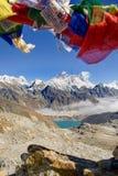 珠穆琅玛和洛子峰从Renjo La通行证 库存图片