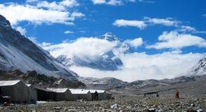 珠穆琅玛基本阵营在西藏 免版税库存照片