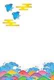 珩科鸟和波浪的明信片。 向量例证