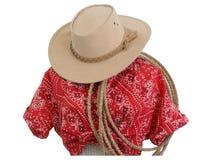 班丹纳花绸女衬衫帽子西部打印的绳&# 免版税库存照片