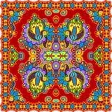 班丹纳花绸传统花卉装饰的佩兹利 免版税库存图片