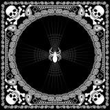班丹纳花绸样式头骨和蜘蛛 库存图片