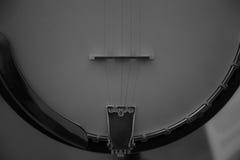 班卓琵琶背景黑白特写镜头 免版税图库摄影