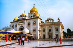班戈拉・撒西比谒师所锡克教徒的寺庙,多数普遍的地标在德里 图库摄影