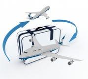 班机和手提箱在白色 库存照片