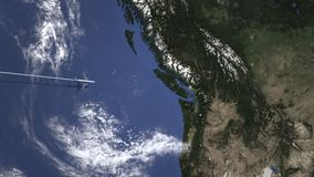 班机飞行向温哥华,从西部3D动画的加拿大 皇族释放例证