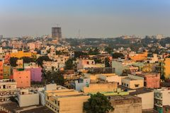 班格洛市地平线-印度 免版税库存照片