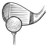 球俱乐部高尔夫球草图 库存图片