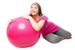 球健身愉快的孕妇 库存照片