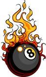 球发火焰台球的动画片八 免版税库存照片