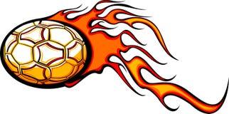 球发火焰足球 库存图片