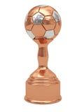 球古铜色垫座足球战利品 免版税库存照片